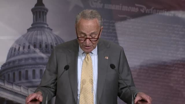 senate minority leader chuck schumer of new york tells reporters at a news conference that america already had an affordable housing crisis that... - 住宅問題点の映像素材/bロール