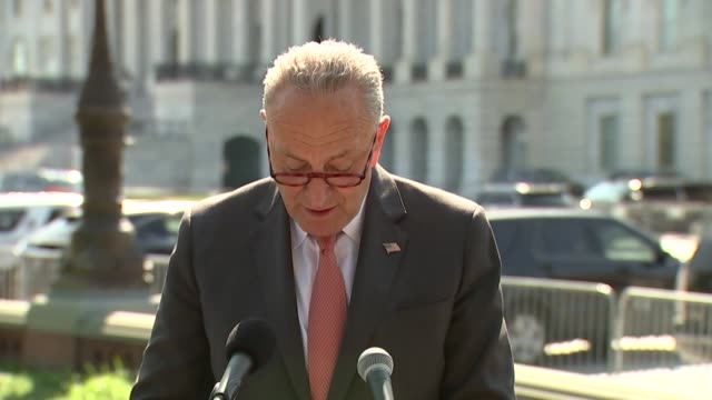 senate minority leader chuck schumer of new york tells reporters at a weekly press conference days after the death of supreme court justice ruth... - 上院議員点の映像素材/bロール