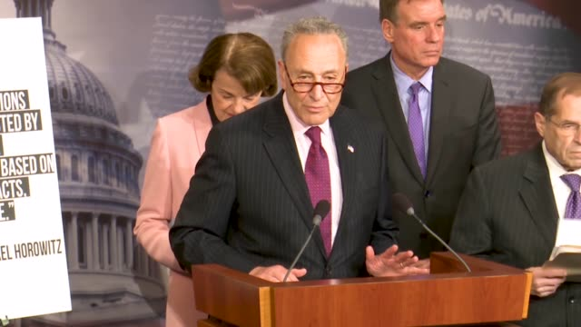 senate minority leader chuck schumer of new york tells reporters at a news conference hours after justice department inspector general michael... - michael horowitz stock videos & royalty-free footage