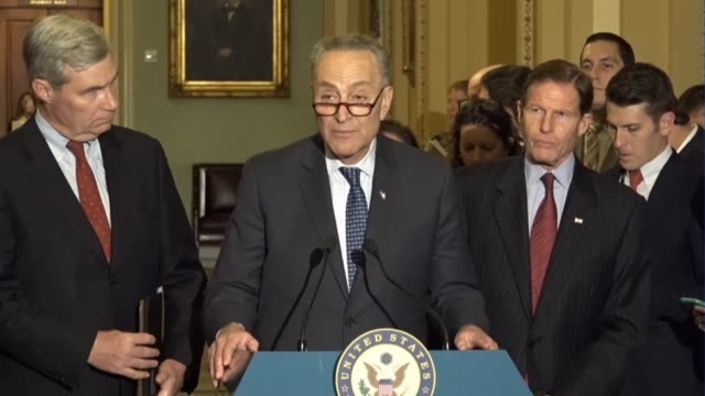 Senate Minority Leader Chuck Schumer of New York tells reporters at a regular press briefing after meeting Supreme Court nominee Judge Neil Gorsuch...