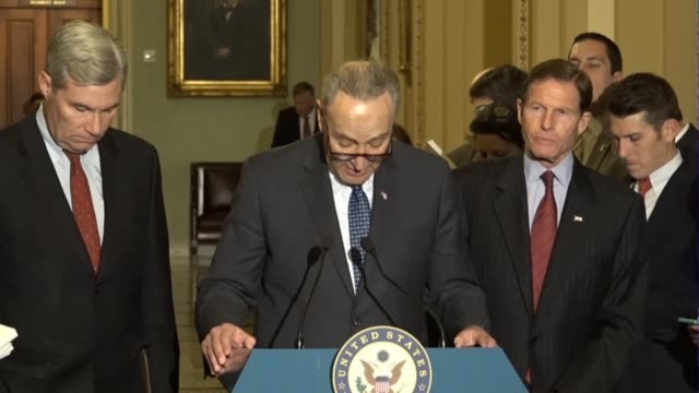 senate minority leader chuck schumer of new york tells reporters at a regular press briefing after meeting judge neil gorsuch nominated to the... - nomination stock videos & royalty-free footage
