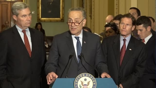 Senate Minority Leader Chuck Schumer of New York tells reporters at a regular press briefing he asked Judge Neil Gorsuch in a meeting about a Muslim...
