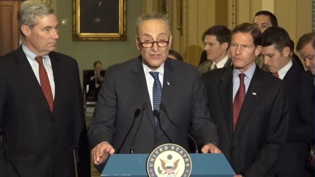 senate minority leader chuck schumer of new york tells reporters at a weekly briefing that hours earlier he met with supreme court nominee judge neil... - nominee stock videos & royalty-free footage