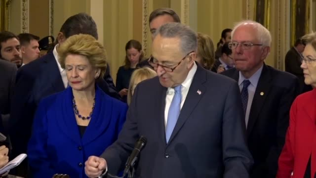 vídeos de stock, filmes e b-roll de senate minority leader chuck schumer of new york tells reporters that democrats agreed on a billiondollar agreement against a demand of president... - política e governo
