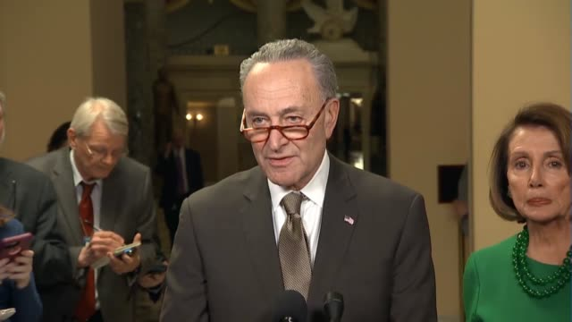 Senate Minority Leader Chuck Schumer of New York tells reporters that events of the day made it clear President Donald Trump was plunging the country...