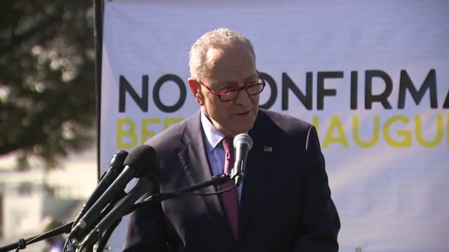 senate minority leader chuck schumer of new york tells supporters at a rally in opposition to the supreme court nomination of seventh circuit judge... - rosh hashanah stock videos & royalty-free footage