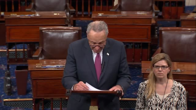 senate minority leader chuck schumer says collective hearts so hardened by the absurd frequency of mass shootings are broken once again at news of a... - controllo delle armi da fuoco video stock e b–roll
