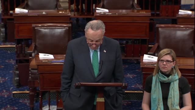 senate minority leader chuck schumer sincerely believes progress could be made against the gun violence by congress, but that would require... - 全米ライフル協会点の映像素材/bロール
