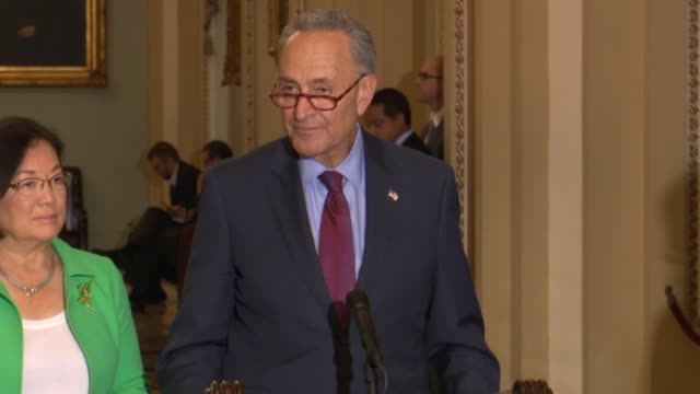 Senate Minority Leader Chuck Schumer tells reporters at a weekly briefing that denying the public release of records concerning SCOTUS nominee Judge...