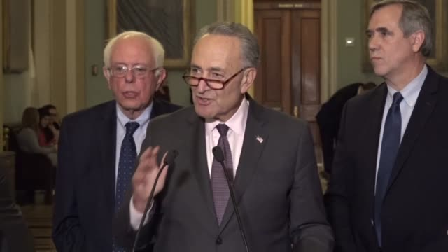 Senate Minority Leader Chuck Schumer tells reporters that a draft budget resolution provides trillions of dollars of tax cuts for millionaires and...