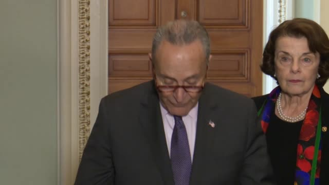 senate minority leader chuck schumer tells the press after reviewing and fbi report on an investigation of supreme court nominee judge brett... - senate judiciary committee stock videos & royalty-free footage