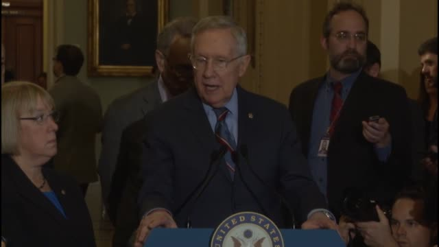 senate minority leader harry reid of nevada takes questions from reporters about the syria policy of the obama administration detainee transfers... - guantanamo bay stock videos & royalty-free footage