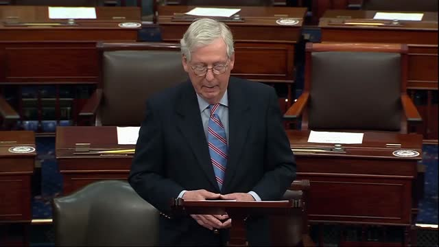 senate minority leader mitch mcconnell of kentucky says after longest vote in senate history, on a procedural motion to the american rescue plan,... - partisan politics stock videos & royalty-free footage