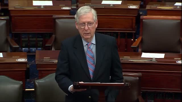 senate minority leader mitch mcconnell of kentucky says ahead of vote series on the american rescue plan that the white house chief of staff had gone... - partisan politics stock videos & royalty-free footage