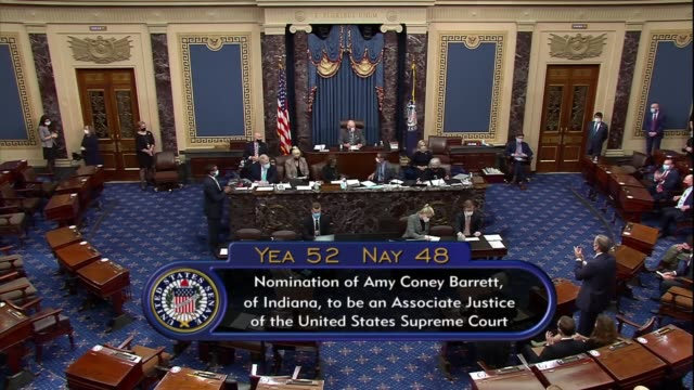 senate president pro tempore chuck grassley of iowa as presiding officer says after a roll call vote the yeas were 52, the nays 48, the nomination of... - nomination stock videos & royalty-free footage