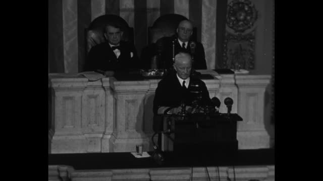 senate president pro tempore kenneth mckellar and speaker of the house sam rayburn sit behind us fleet admiral chester nimitz as the admiral... - sam rayburn video stock e b–roll