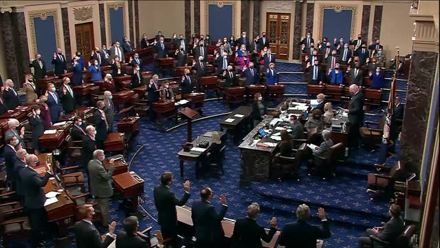 senate president pro tempore pat leahy of vermont administers the impeachment trial of two senators in the chamber in conformance with the... - congress stock videos & royalty-free footage