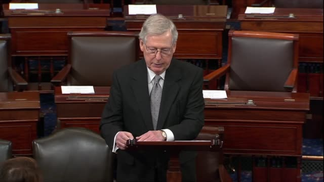 senate republican leader mitch mcconnell says on day 32 of a partial government shutdown that democrats had demands to reopen government and to bring... - senate stock videos & royalty-free footage