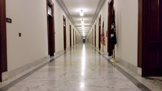 u.s. senate russell building hallway in washington, dc - 4k/uhd - united states congress stock videos & royalty-free footage