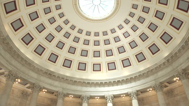 u.s. senate russell office building rotunda in washington, dc - tilt down - senate stock videos and b-roll footage