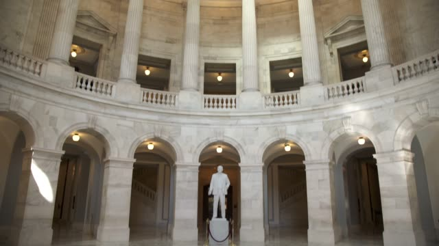 u.s. senate russell office building rotunda in washington, dc - tilt up - political party stock videos & royalty-free footage