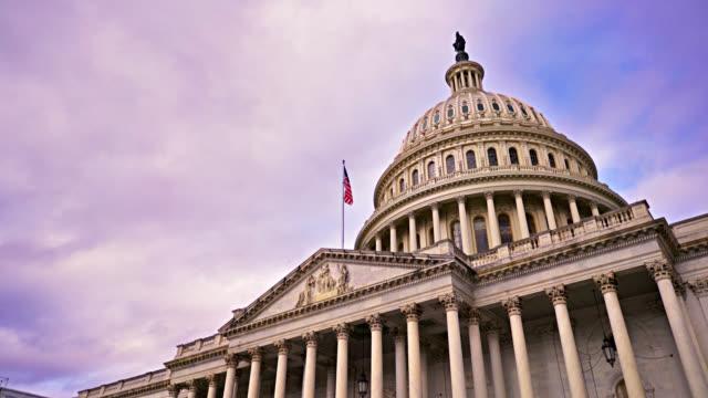 vídeos de stock e filmes b-roll de senate washington dc. close up. low angle. skyline. - senado dos estados unidos