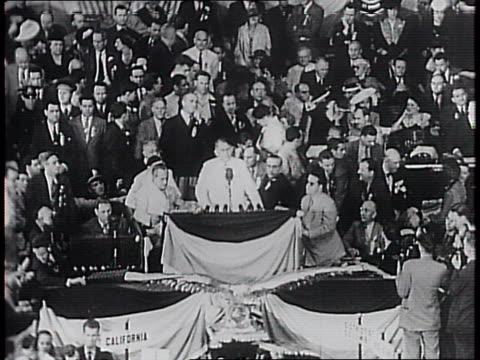 senator alben w barkley speaks to the delegates / barkley announces that he has a message from president franklin delano roosevelt / via barkley... - alben w. barkley stock videos and b-roll footage