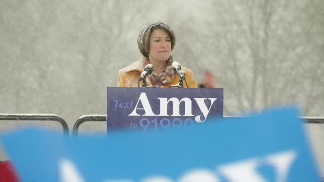 senator amy klobuchar comments on climate change during her presidential candidacy announcement on february 10, 2019 in minneapolis, minnesota. - senator stock videos & royalty-free footage