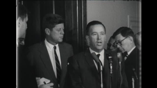 senator and chairman of the democratic national committee jackson and kennedy at a press conference at the capital jackson speaks about transitioning... - john f. kennedy politik stock-videos und b-roll-filmmaterial