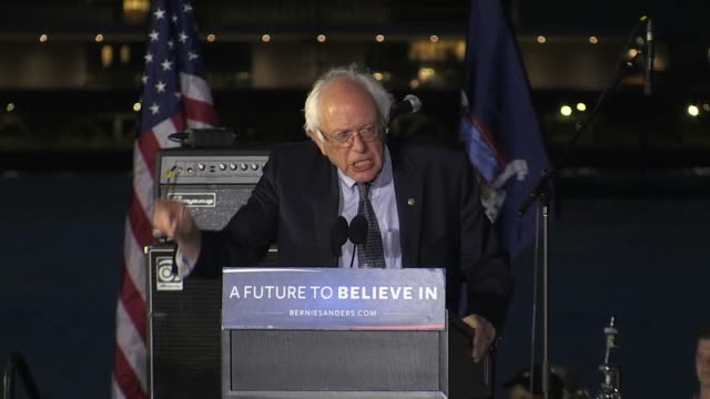 stockvideo's en b-roll-footage met ms senator and democratic presidential candidate bernie sanders speaking to supporters at a rally in long island city new york sanders says that... - business or economy or employment and labor or financial market or finance or agriculture