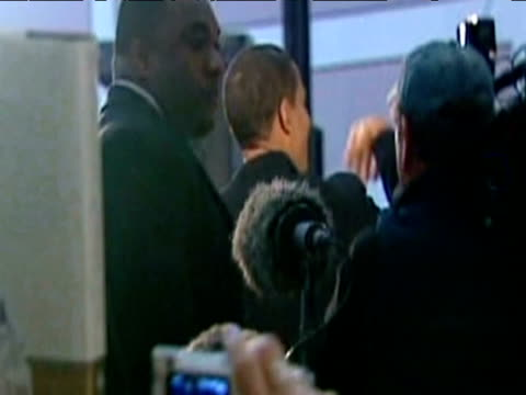 senator barack obama approaches stage in flurry of activity gaining support for presidential candidacy virginia; february 2007 - democratic party usa stock videos & royalty-free footage