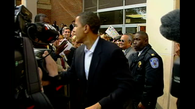 bid for presidency exact usa exact location unknown senator barack obama shaking hands with supporters then along to stage as name announced sot... - autogramm stock-videos und b-roll-filmmaterial
