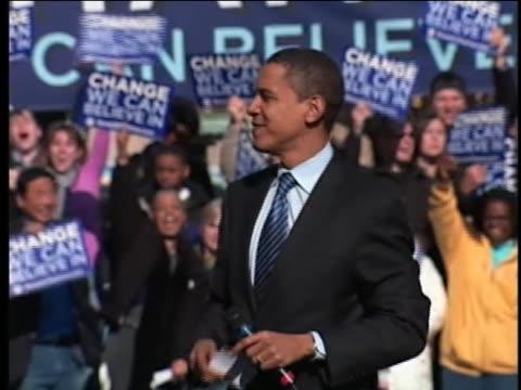 vidéos et rushes de senator barack obama, democratic party presidential candidate, campaigns in the 2008 delaware primary. - 2008