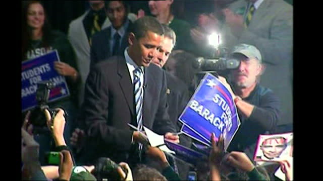 senator barack obama signing autographs at a rally at george mason university february 2 2007 in fairfax va obama is to announce his bid to run for... - senator stock videos & royalty-free footage