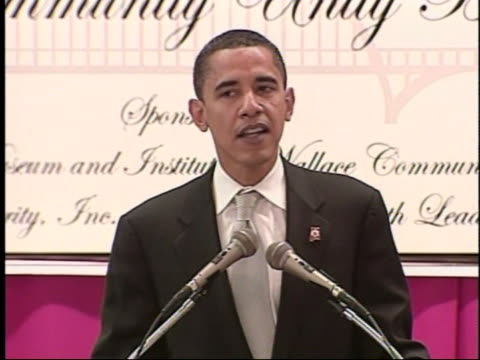 senator barack obama talks at the martin and coretta king beloved community unity breakfast in selma alabama speaking of changing race relations over... - 2007 stock videos & royalty-free footage