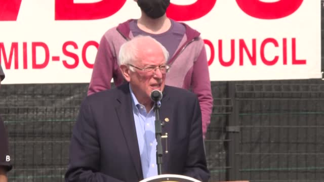 senator bernie sanders joins the drive to unionize amazon workers in alabama as clashes intensified between lawmakers and the e-commerce giant ahead... - trade union stock videos & royalty-free footage