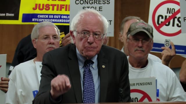 Senator Bernie Sanders on Pension Reform part 2 inside at podium in Dirksen Senate office building with Jimmy Hoffa and labor union backing