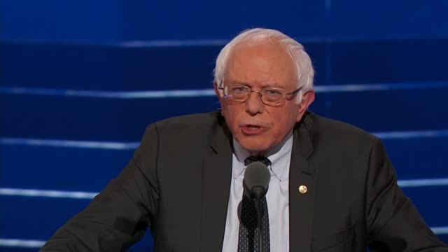 vídeos de stock, filmes e b-roll de senator bernie sanders tells 2016 dnc delegates that no one is more disappointed with the outcome of the nomination process than he is, saying that... - bernie sanders