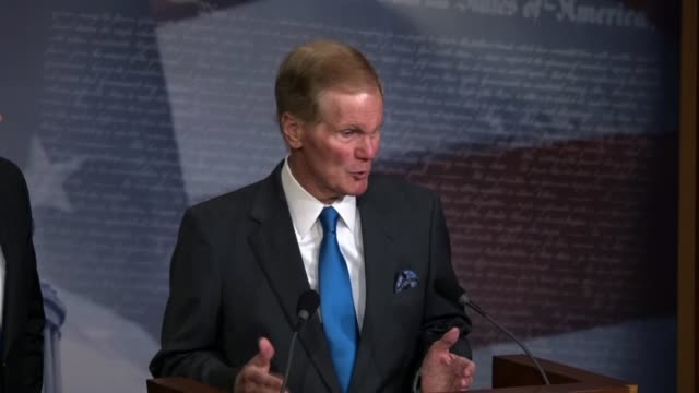 senator bill nelson says at a news conference with his florida counterpart that he believes a solution to the gun violence problem is universal... - national rifle association stock videos & royalty-free footage
