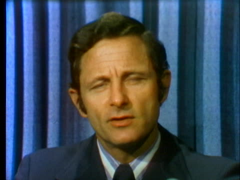 senator birch bayh speaks of a possible battle with president richard nixon about over the resigning vice president spiro agnew. - resignation of richard nixon stock videos & royalty-free footage