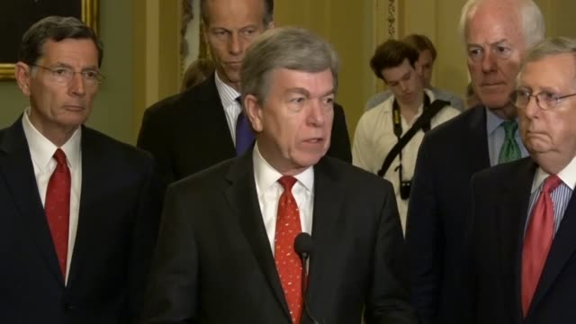 senator blunt tells reporters at a weekly briefing that he was working on the rules committee at the congressional accountability act for updates to... - 性的嫌がらせ点の映像素材/bロール