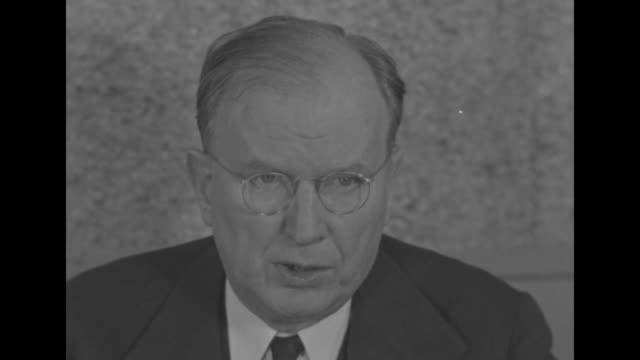 """senator burton k. wheeler sits in radio broadcasting booth in front of """"nbc"""" microphone / sot: """"i am opposed to american convoy of british ships ...... - convoy stock videos & royalty-free footage"""