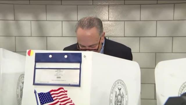 WPIX Senator Charles Schumer Casting His Ballot at Voting Booth