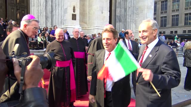 senator charles schumer greets st patrick's cathedral clergy during the annual columbus day parade via 5th avenue in manhattan new york city usa /... - st. patrick's cathedral manhattan stock videos and b-roll footage