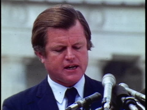 cu of senator edward ted kennedy speaking at a memorial service in washington dc for the members of the israeli olympic team killed by the... - sport stock-videos und b-roll-filmmaterial