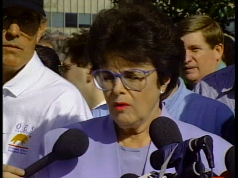 senator dianne feinstein speaks at a press conference about federal assistance for the 1994 northridge earthquake in california. - northridge stock videos & royalty-free footage