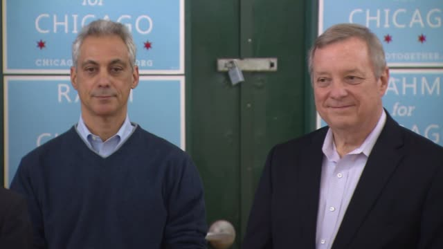 s senator dick durbin endorsed incumbent rahm emanuel for mayor sunday during an event that highlighted chicago's star scholarship on feb 8 2015 in... - dick durbin stock videos & royalty-free footage