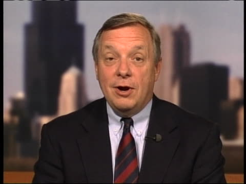 vídeos de stock, filmes e b-roll de senator dick durbin of the senate intelligence committee opposes porter goss's nomination as us central intelligence agency director - (war or terrorism or election or government or illness or news event or speech or politics or politician or conflict or military or extreme weather or business or economy) and not usa