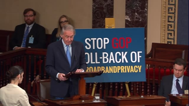 senator ed markey of massachusettes says that the right of privacy is under attack and points to examples of televisions being able to listen to and... - yahoo brand name stock videos & royalty-free footage