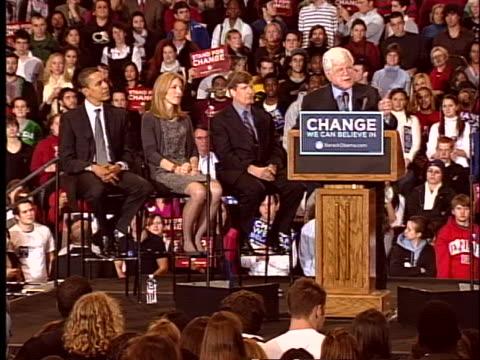 senator edward kennedy endorses barack obama for president of the united states - distorted stock videos & royalty-free footage